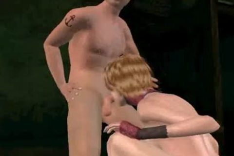 3D this babemale receives double teamed