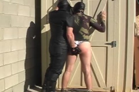 Masked dudes strip And fuck Each Other outdoors