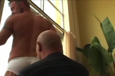 grandad shoots his load In The condom while plowing A Daddy