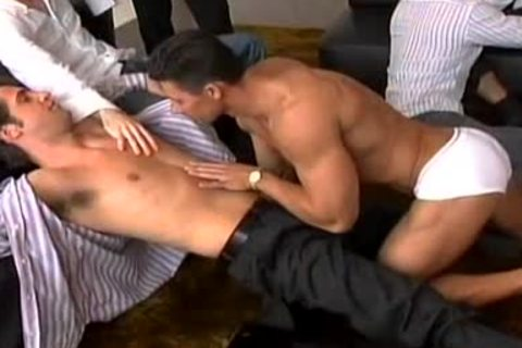 A Striptease That Leads To A giant homosexual fuckfest!