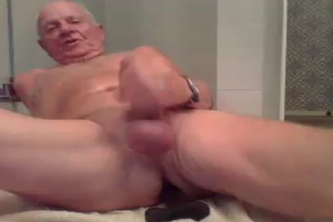 grand-dad stroke stroke With  A fake penis In booty And cum