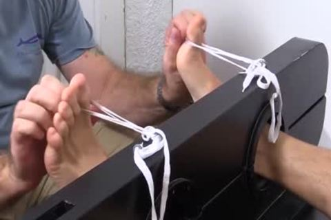 Hunky Dane acquires The Tickle Brush Treatment For His yummy Feet