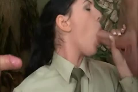 brunette girl In Al anal three-some With two filthy Soldiers