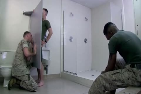 Army twinks Glory hole three-some