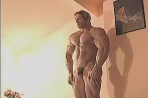 pleasant Muscle Hunk In Birthday Suit And Touching Himself