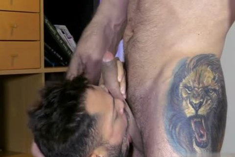 Muscle homo blowjob-stimulation And semen flow