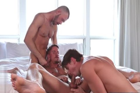 gigantic penis gay threesome With Facial