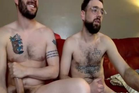 Two homosexuals Have Steamy Sex On The Red Sofa
