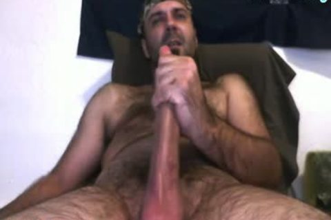 Daddy Bear stroking His 10 Inches pecker And Cumming