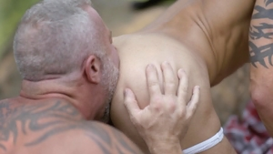Icon Male: Lance Charger & Casey Everett painful anal outdoors