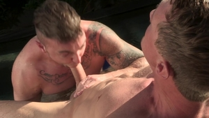 FalconStudios: Tattooed Jake Ashford rimming outdoors